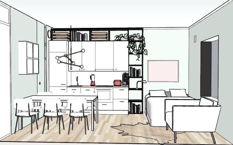Tila- ja sisustussuunnitelma | Yksiö, Kallio