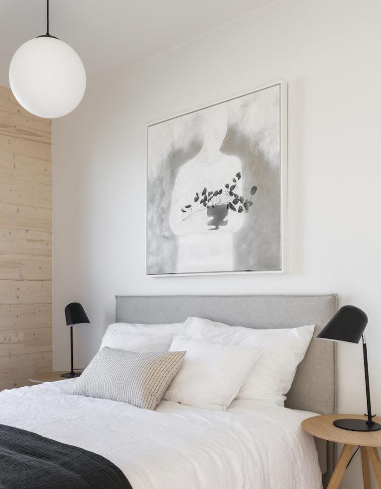 Makuuhuoneen sisustussuunnittelu, Finnlog Hetena, Tuusulan Asuntomessut, sisustussuunnittelu Heli Virtanen, Iloa360
