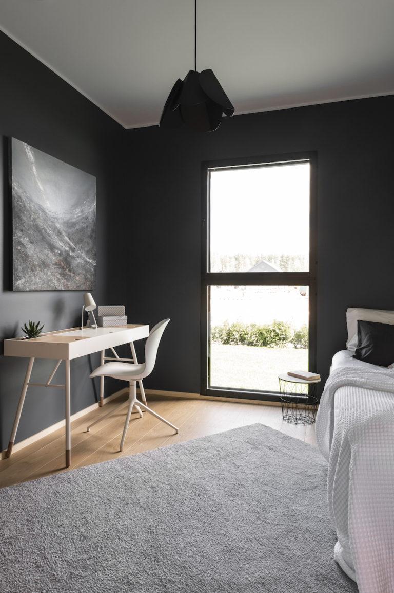 Makuuhuoneen sisustus, Finnlog Hetena, Tuusulan Asuntomessut sisustussuunnittelija Heli Virtanen, Iloa360